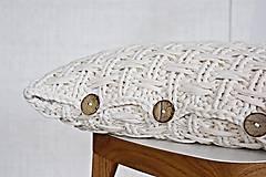 Úžitkový textil - Pletený vankúš - prírodný - 9219867_