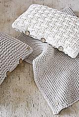 Úžitkový textil - Pletený vankúš - prírodný - 9219868_