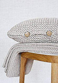 Úžitkový textil - Pletený vankúš - hnedý - 9219837_