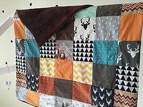 Textil - Detská deka Zvieratká z lesa, hnedá, 94x122cm - 9221486_
