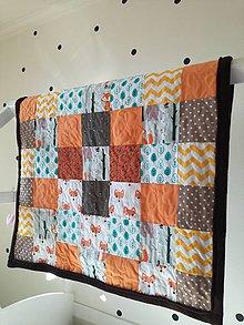 Textil - Detská deka Zvieratká z lesa, hnedá 2, 98x125cm - 9221526_