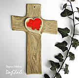 Dekorácie - Keramický kríž (so srdcom zo skla) - 9221823_