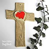 Dekorácie - Keramický kríž (so srdcom zo skla) - 9221825_