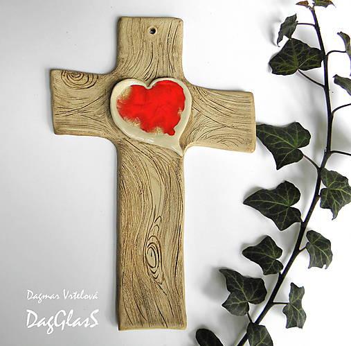 Keramický kríž (so srdcom zo skla)