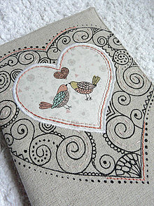 Papiernictvo - Obal na zápisnik - vtáčiky a srdce - 9223870_