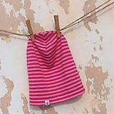 Detské čiapky - Detská celoročná merino čiapka ružový šmolko - 9220466_