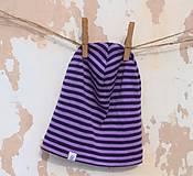 Detské čiapky - Detská celoročná merino čiapka fialový šmolko - 9220523_