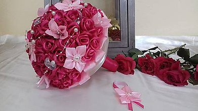 Kytice pre nevestu - Saténová kytica ruží - 9221503_