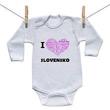 Detské oblečenie - Originálne body I love Slovensko (Ružová) - 9222105_