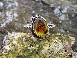 Prstene - Strieborny prsteň Ag 925 Jantár - 9220956_