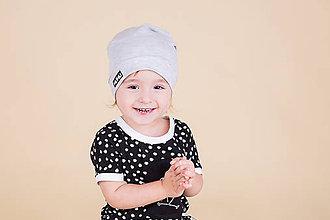 Detské čiapky - Jarná šmolko čiapka v sivej - 9222608_