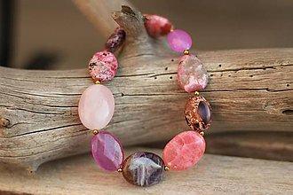 Náramky - Náramok z minerálov rodochrozit, ruženín, regalit - 9223372_