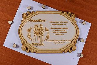 Papiernictvo - Svadobné oznámenie drevené gravírované 3 - 9220307_
