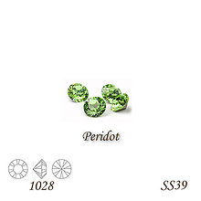 Korálky - SWAROVSKI® ELEMENTS 1028 Xilion Chaton - Peridot, SS39, bal.1ks - 9223128_