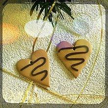 Dekorácie - FIMO vianočné medovníky (srdiečka) - 9219800_