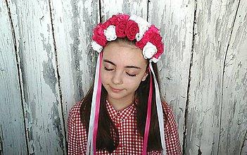 Ozdoby do vlasov - Ľudová parta-malinka - 9226581_
