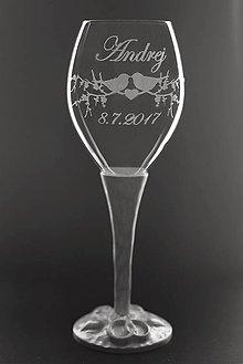 Nádoby - Svadobný pohár (kalich) s drevenou vyrezávanou stopkou - 9227400_