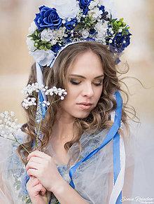 Ozdoby do vlasov - Modrá svadobná dvojradová parta - 9228702_