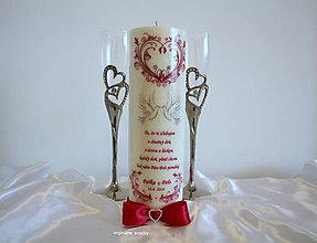 Svietidlá a sviečky - Láska nemusí byť dokonalá, láska musí byť pravdivá... svadobná sviečka - 9227194_