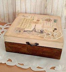 Krabičky - drevená krabička vintage Paris - 9224433_