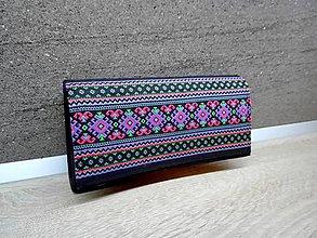 Peňaženky - Peňaženka na 12 kariet,koženka, bavlna - 9227312_