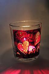 """Svietidlá a sviečky - Maľovaný svietnik """"Srdiečka"""" - 9225540_"""