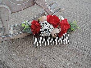 Ozdoby do vlasov - Hrebienok červený - 9227962_
