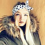 Ozdoby do vlasov - Vintage šatka do vlasov Modré bodky - 9224683_