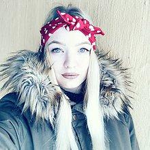 Šatky - Vintage šatka do vlasov Červená bodkovaná - 9224675_