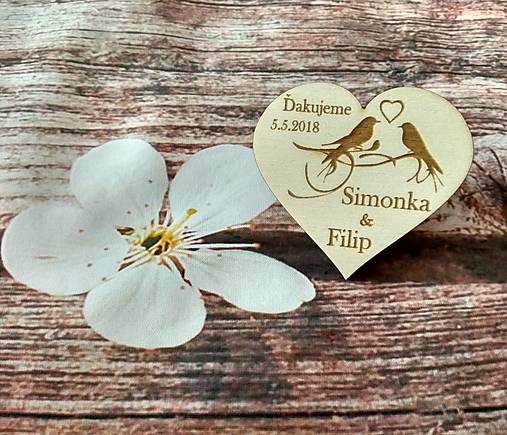 Srdiečko pre hostí 15 - drevená magnetka