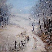 Obrazy - Zimní cesta - originální malba akrylem - 9228697_