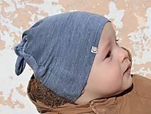 Detské čiapky - Detská rastúca merino čiapka so štýlovým uzlíkom - modrá (36) - 9228724_