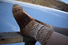 Obuv - Hnedé melírované ponožky s dierkovaným vzorom ( v.39-40) - 9225794_