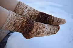 Obuv - Hnedé melírované ponožky s dierkovaným vzorom ( v.39-40) - 9225805_