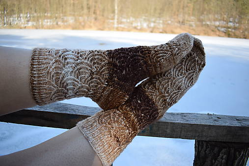 Hnedé melírované ponožky s dierkovaným vzorom ( v.39-40)
