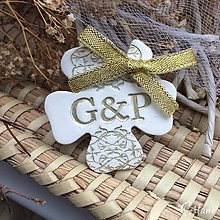 Darčeky pre svadobčanov - Štvorlístok s iniciálami - zlatý - 9224040_
