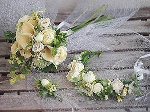 Kytice pre nevestu - svatební set - kaly - kytice, korsáž, věneček - 9228303_