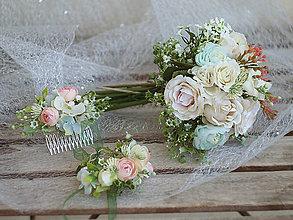 Kytice pre nevestu - svatební set: náramek, kytice, hřebínek - 9228347_
