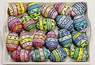 Dekorácie - husacie vajíčka pruhované - 9228186_