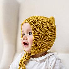 Detské čiapky - Bavlnený pixie čepček na jar, jeseň HORČICOVÝ - 9231702_