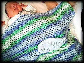 Úžitkový textil - Háčkovaná deka s menom - 9233380_