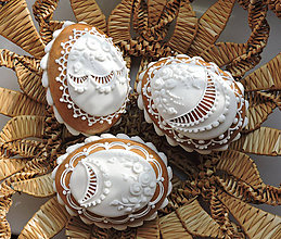 Dekorácie - Medovníková Kraslica 3D biela / 18 - 9231638_