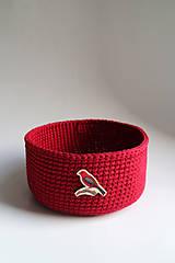 Košík - Červený | Bordový | tmavý | gombík | vtáčik