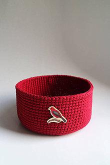 Košíky - Košík - Červený | Bordový | tmavý | gombík | vtáčik - 9232260_