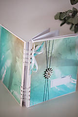 Papiernictvo - Tyrkysový svadobný album / kniha hostí - 9233324_