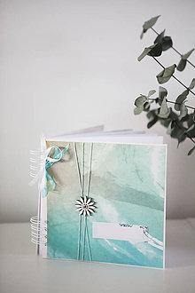 Papiernictvo - Tyrkysový svadobný album / kniha hostí - 9233320_
