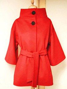 Kabáty - Vlnený krátky kabát-ČERVENÝ /rôzne farby - 9233843_