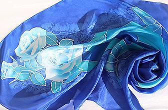 Šatky - Modrá ruža..hodvábna šatka - 9230344_