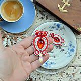 Náušnice - Red Crystals - sutaškové náušnice - 9231444_