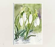 Papiernictvo - Ručne maľovaná pohľadnica- Snežienky - 9229645_